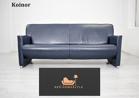 Koinor Designer Dreisitzer Sofa Leder Couch Dunkelblau Tara