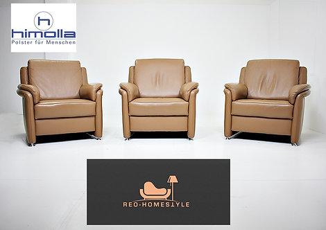 Himolla Designer 3X Sessel Set Sofa Couch Leder Dickleder