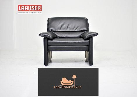 Laauser Plus Designer Sofa Sessel Schwarz Leder Couch Stil