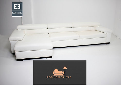 Ewald Schillig Designer Sofa Ecksofa Weiß Leder Funktion Couch