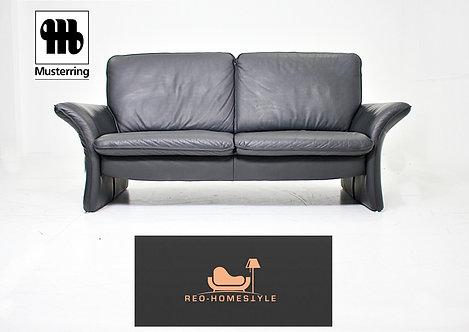 Musterring Designer Sofa Dreisitzer Schwarz Leder Couch Echtleder