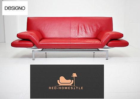 Designo WK Wohnen Sofa Zweisitzer Rot Leder Funktion Hocker Couch