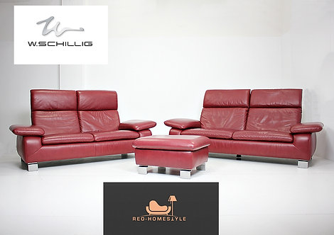 Willi Schillig Designer Garnitur 3/2 Hocker Sofa Leder Bordeaux