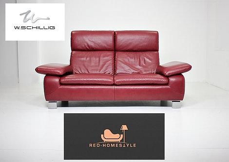 Willi Schillig Designer Sofa Leder Zweisitzer Bordeaux Couch