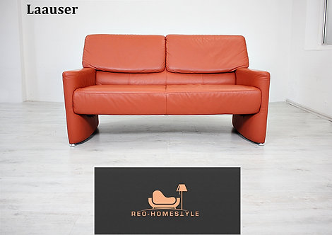 Laauser  Designer Sofa Zweisitzer Terrakotta Leder Couch