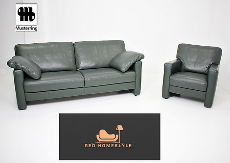 Musterring Designer 3er Sofa Sessel Vintage Grün Leder Garnitur