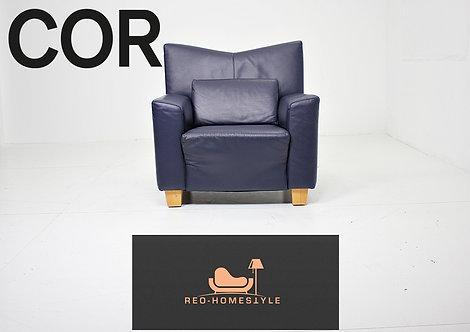 Cor Designer Sofa Dunkelblau Sessel Sitz Couch Leder Wohnzimmer