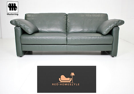 Musterring Designer Sofa Dreisitzer Grün Leder Couch Echtleder