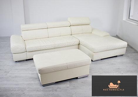 Designer Sofa Couch Ecksofa Lounge Leder Creme Funktion + Hocker