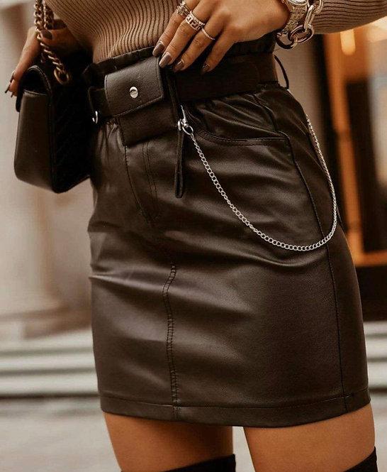 Falda polipiel cinturón