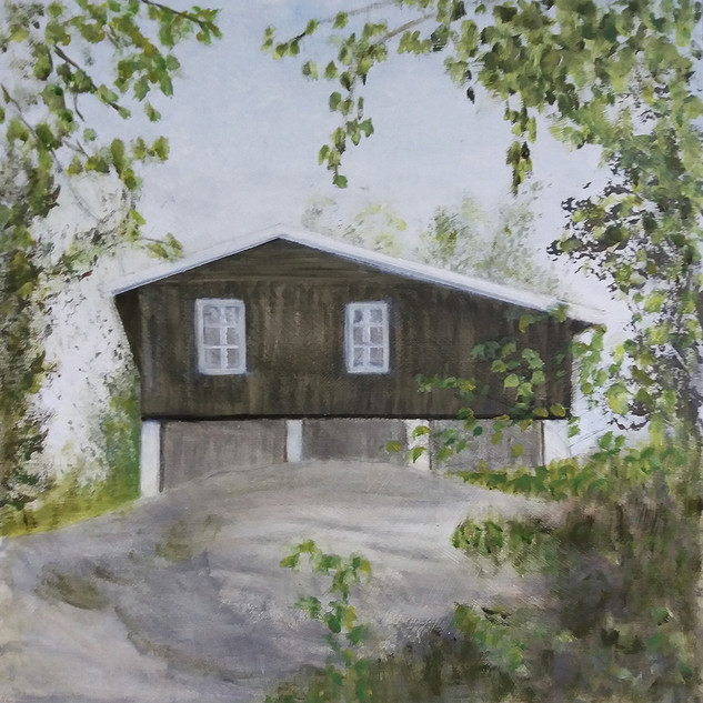 """Cottage In The Woods""  Kirsti Aasheim/ acrylic on mdf/ 30x30 cm"