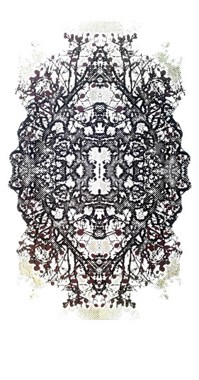 """Imperial-Crown"" (black variant) Kirsti Aasheim/ Screenprinting/ 57x29 cm"