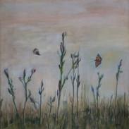 """Seeking Nectar"" Kirsti Aasheim/ painting/ 80x84 cm"