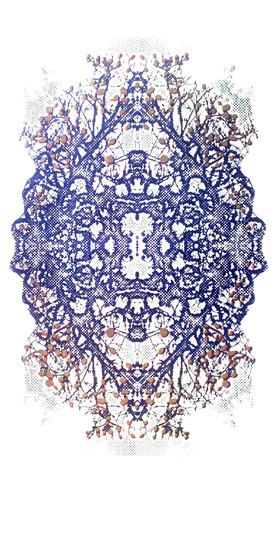"""Imperial-Crown"" (blue variant) Kirsti Aasheim/ Screenprinting/ 57x29 cm"