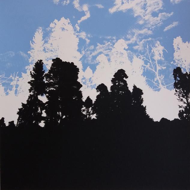"""Silhouette"" (blue variant) Kirsti Aasheim/ Screenprinting/ 40x40 cm"