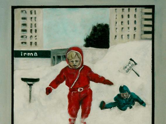 I snøen