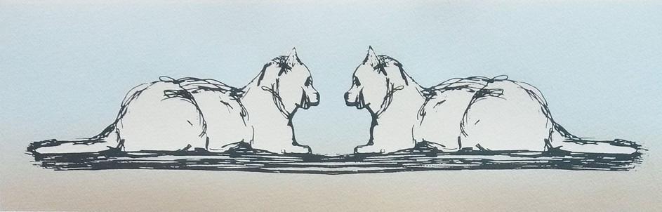 """Mutual Affection (blue variant)"" Kirsti Aasheim/ Screenprinting/ 40x12 cm"