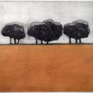 """Constructing A Memory (ochre variant) Kirsti Aasheim/ etching/ 20,5x22,5 cm"