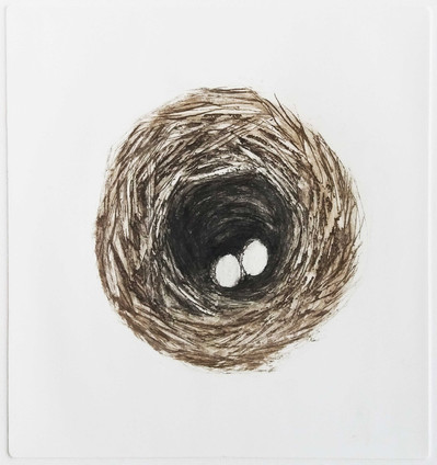 """The Nest 1"" Kirsti Aasheim/ etching/ 16,5x17,5 cm"