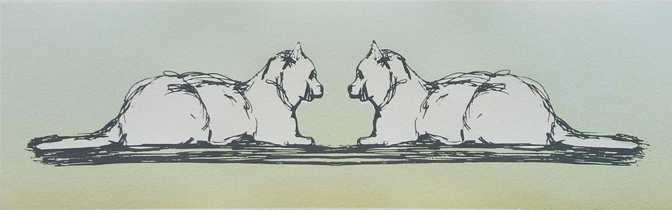 """Mutual Affection (green variant)"" Kirsti Aasheim/ Screenprinting/ 40x12 cm"