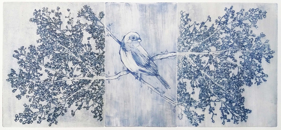 """""""A Conversation With Nature"""" (grey variant) Kirsti Aasheim/ etching/ 23x51 cm"""