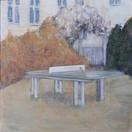 """In The Backyard""  Kirsti Aasheim/ acrylic on mdf/ 30x30 cm"