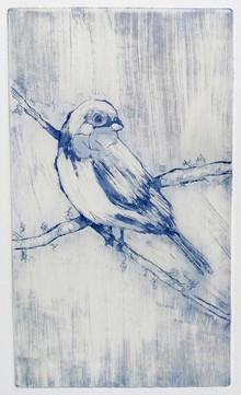 """Just Waiting 1"" Kirsti Aasheim/etching/ 13,5x23 cm"