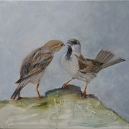 """Flirting"" Kirsti Aasheim/ painting/ 50x50 cm"