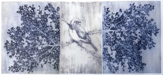 """""""A Conversation With Nature"""" (blue variant) Kirsti Aasheim/ etching/ 23x51 cm"""