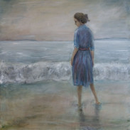 """""""Woman by the Sea"""" Kirsti Aasheim/ oil painting/ 73x74 cm"""