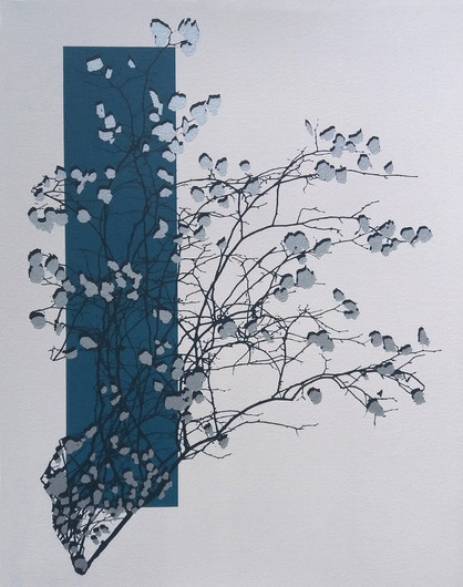 """""""Silverleaf"""" Kirsti Aasheim/ Screenprinting/ 42x32,5 cm"""