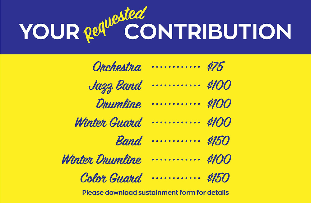 Sustainment contribution amounts for Napa High Instrumental Music