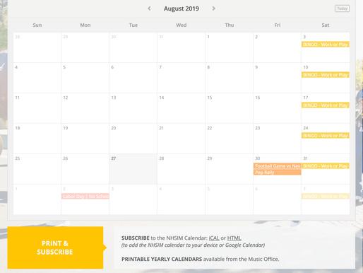 NHS Instrumental Music Calendar