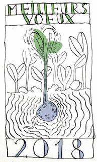 Carte de voeux 2018 pour LES PIEDS VERTS, jardin en permaculture, 01.18