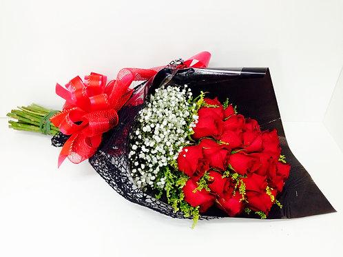 Buquê Isabelle de 24 Rosas vermelhas