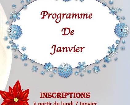 Programme des activités de Janvier : spectacle, créations, détente !