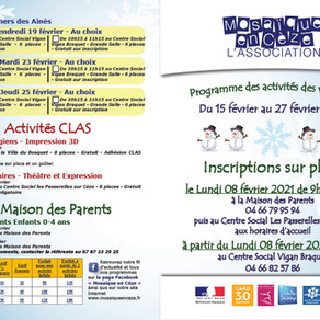 Programme des activités vacances de février 2021 : ateliers et activités
