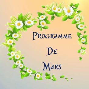 Programme des activités de Mars : Balade, Fête, ateliers créatifs...
