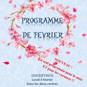 Programme des activités de Février et des vacances!