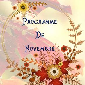 Programme des activités de novembre : ateliers, spectacles, sorties...
