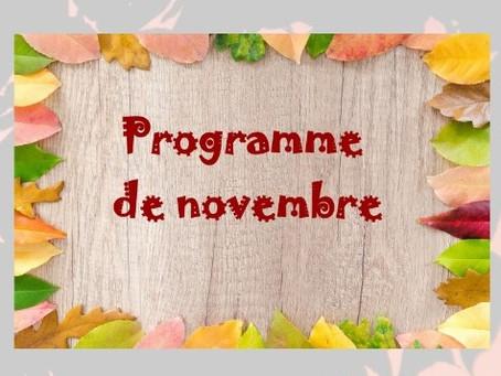 Programme des activités : novembre 2018