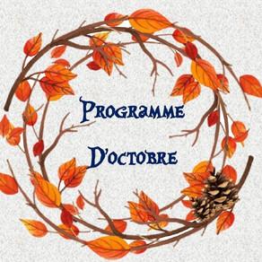 Programme des activités d'octobre : ateliers, événements, vacances...