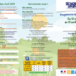 Programme des activités mars 2021 : ateliers et activités