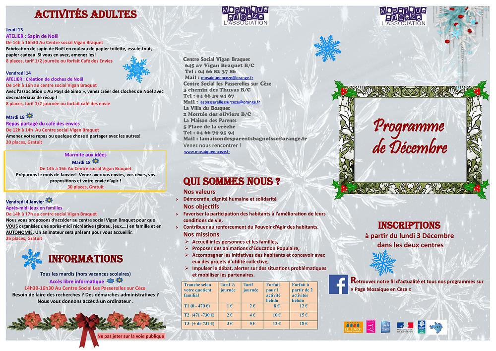 Le programme des Centres sociaux de Bagnols sur Cèze pour décembre 2018 : fêtes, partages, rencontres, création artistique, bien être et santé...