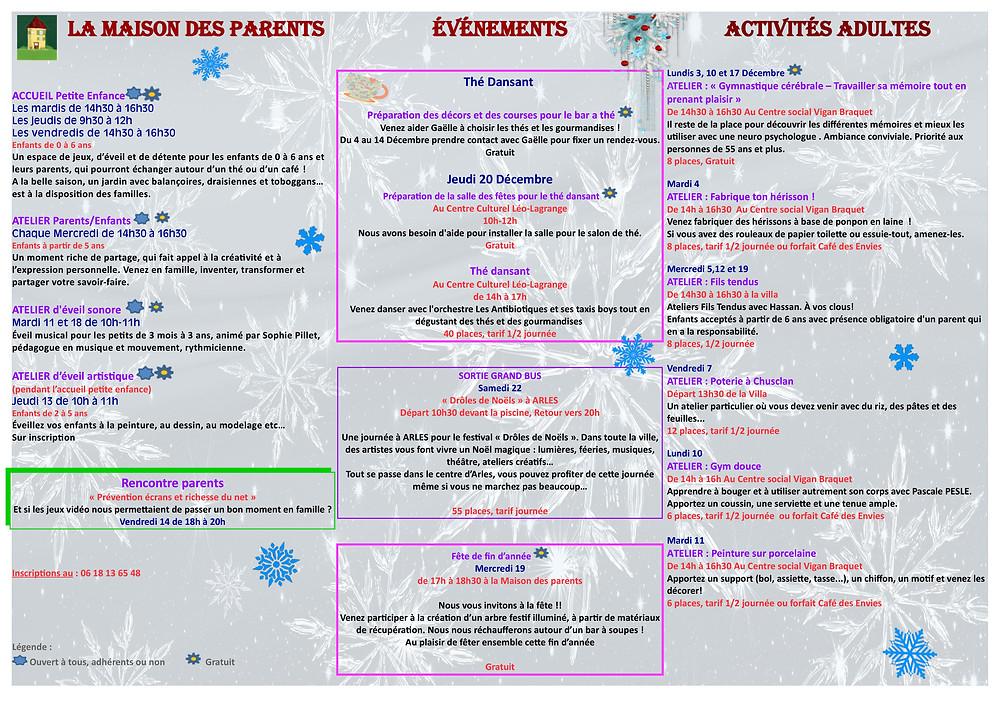 Les activités de décembre 2018 à Mosaïque en Cèze, dans les Centres sociaux de Bagnols sur Cèze : fêtes, partages, rencontres, création artistique, bien être et santé...