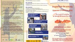 Programme des activités Vacances Automne 2021 : activités et sorties