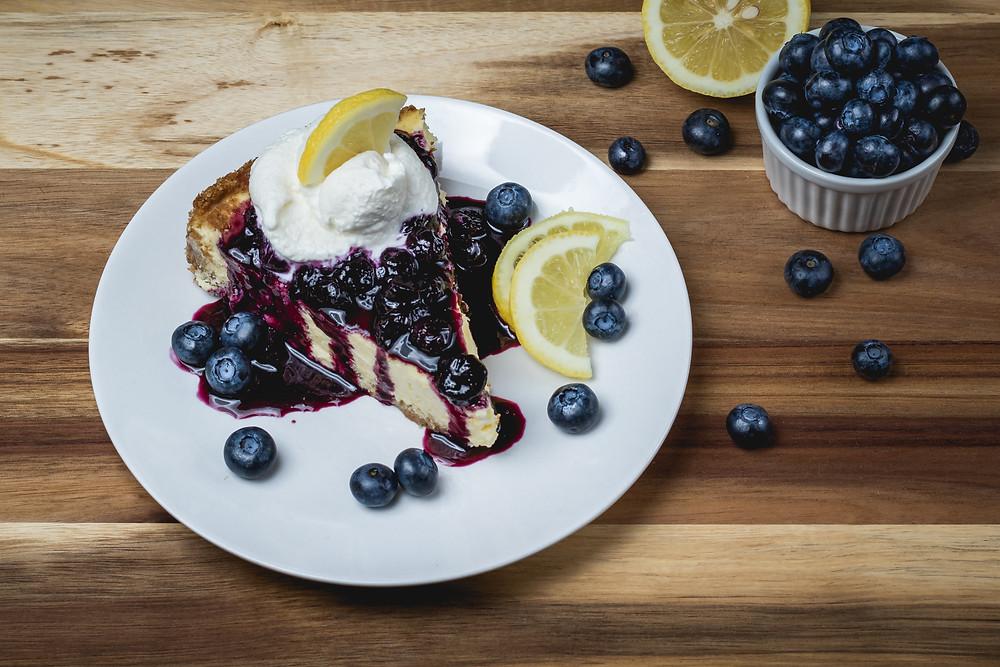 food photography lemon blueberry cheesecake