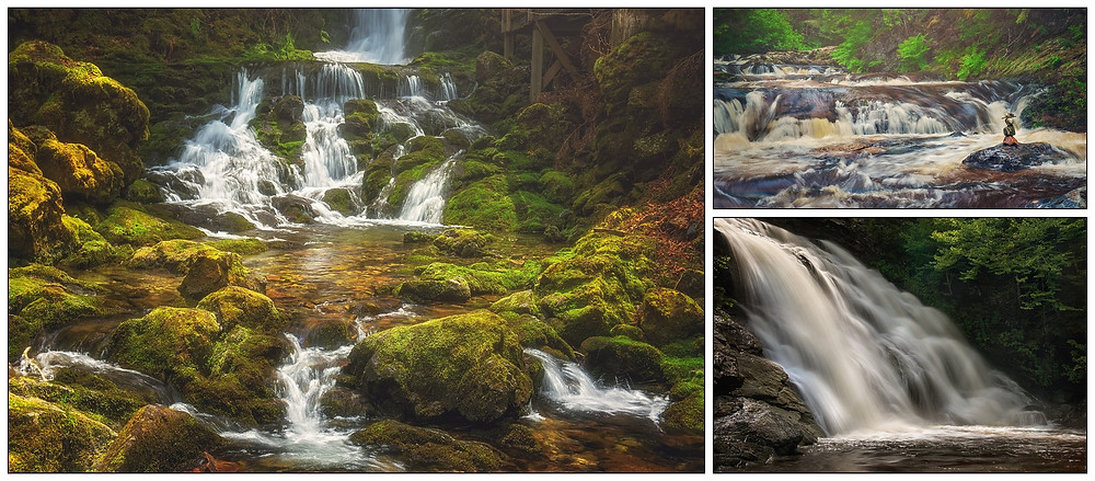 A collage of some of the beautiful waterfalls in Fundy National Park. All photos © Tracy Munson 2018.