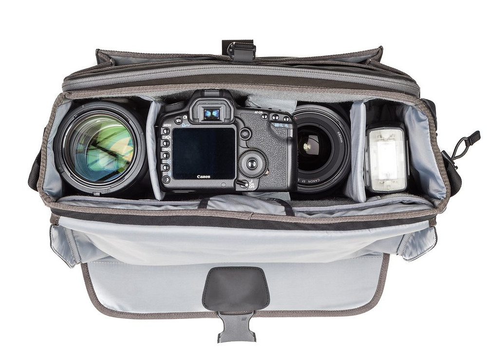 Photo of the interior of the bag filled with gear