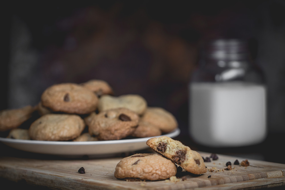 food photography, cookies and milk